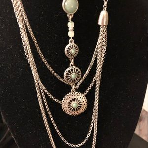 Lucky Brand 3 Way Turquoise & Silver Necklace